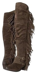 Naughty Monkey Fringe Knee High Suede Taupe Boots
