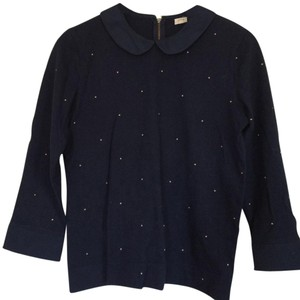 J.Crew Polka Dot Peter Pan Collar Top Navy
