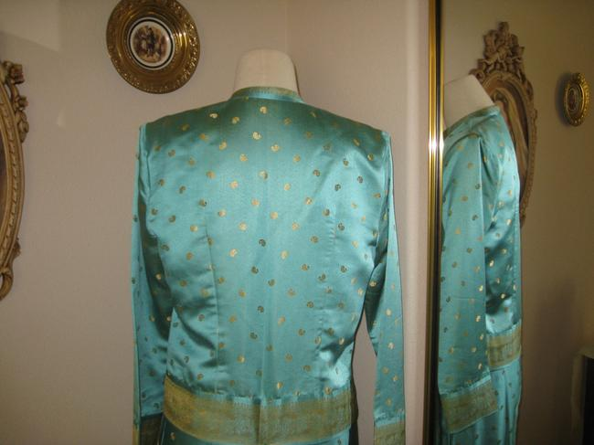 Other 100% Silk Cocktail Suit. Fully lined. Size 8. Long Skirt. Short Box Jacket. Aqua/Gold Mint Condition