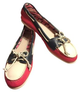Sperry Fuscia Pink/Navy Blue/White Flats