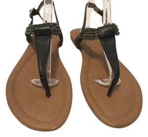 Lucky Brand Twisted Rope Black and pewter thong ankle strap Sandals