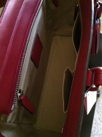 Coach Leather Tote in Black Cherry