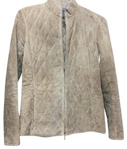 Ann Taylor Suede Quilted Tan Leather Jacket