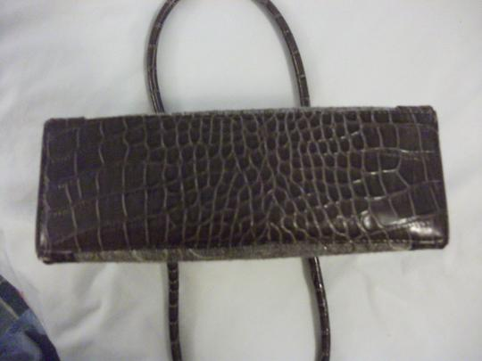 Liz Claiborne Vintage Tapestry Faux Croc Tote in brown/gold