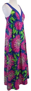 Maxi Dress by Lilly Pulitzer Blue Green Hot Pink Floral