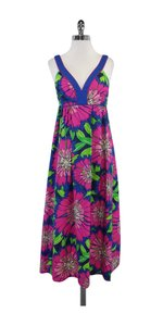 Maxi Dress by Lilly Pulitzer Blue Green Hot Pink Floral Cotton Maxi