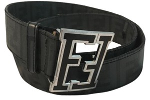 Mens Fendi Logo Belt Black and Dark Grey Fendi logo Belt