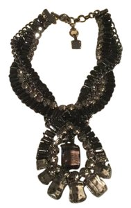 BCBGMAXAZRIA Gray twisted stone statement necklace