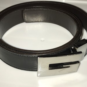 Gucci Gucci Black Belt w GG silver buckle