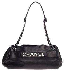 Chanel Tote Leather Chain Satchel in Black