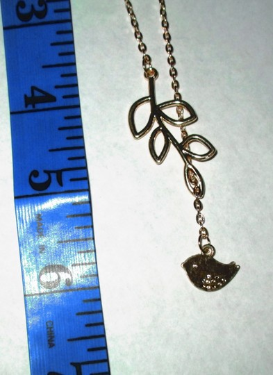 9k Gold Filled Lariat Style Leaf & Bird Necklace Free Shipping
