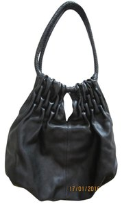 Kenneth Cole Leather Pleated Braided Designer Shoulder Bag