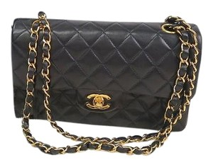 Chanel Quilted Lambskin Matelasse Double Flap Shoulder Bag
