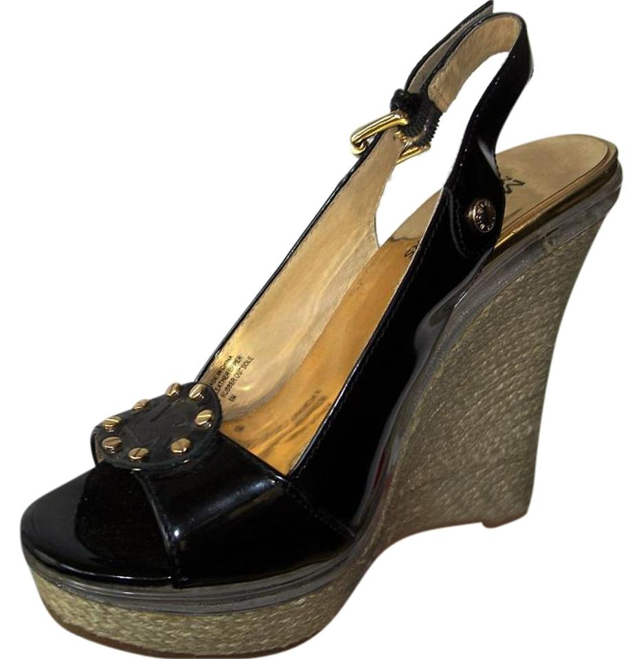 michael kors black patent slingback heel sz 6m wedges wedges on sale. Black Bedroom Furniture Sets. Home Design Ideas