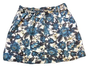 Ann Taylor LOFT Mini Skirt blue and off-white