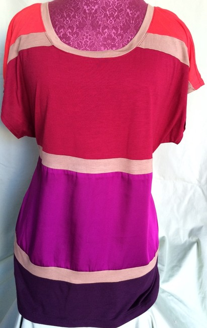 Express Top Burgundy, Red, Fuschia & Beige