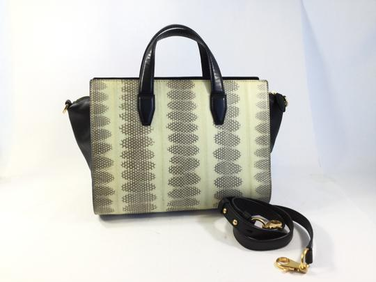 Alexander Wang Pelican Snakeskin Satchel in Black/Cream