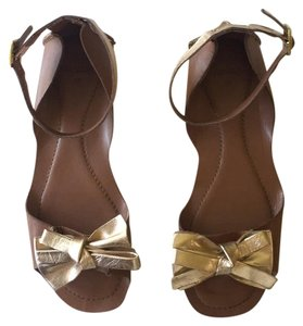 Topshop Gold and cognac leather Sandals