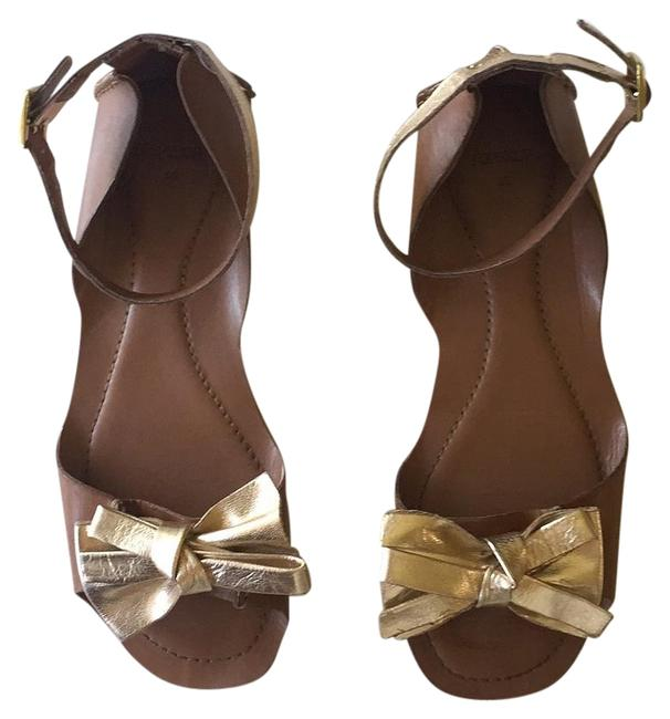 Item - Gold and Cognac Leather Sandals Size US 8 Regular (M, B)