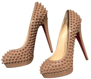 Christian Louboutin Platform Spike Stiletto Nude with Nude Spikes/Studs Pumps