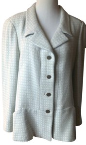Chanel Cc Logo Buttons Silver White and Pale blue Blazer