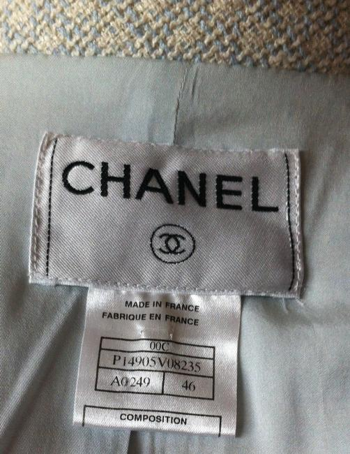 Chanel Logo Buttons Silver White and Pale blue Blazer