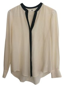 Uniqlo Button Down Shirt cream and black