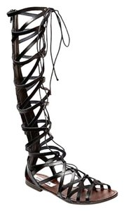 Steve Madden Gladiator Laced Up Back-zip Leather Black Sandals