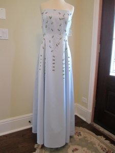 Bari Jay Light Blue Strapless Satin Criss-cross Open Back Bridesmaid Dress 6960 Dress