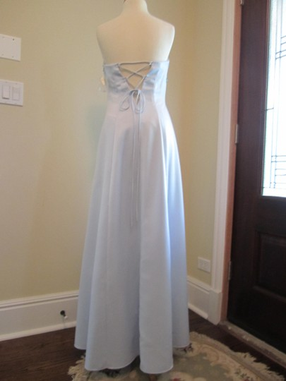 Bari Jay Light Blue Satin/Polyester Strapless Flower Accent Embroidered Feminine Bridesmaid/Mob Dress Size 10 (M)