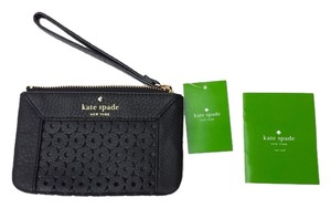 Kate Spade Coin Perforated Leather Wallet Wristlet in Black