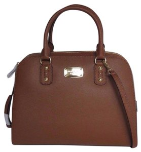 Michael Kors Leather Saffiano Satchel in Luggage