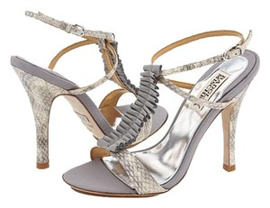 Badgley Mischka Sandal Raven Grey Snakeskin with Ruffle Sandals