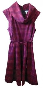 Go International short dress Dark Burgundy Red & Navy Plaid Sleeveless Pleated Cowl Neck Jumper Belted on Tradesy