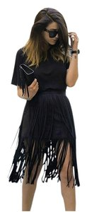 Zara Fringe Fringed Skirt Black