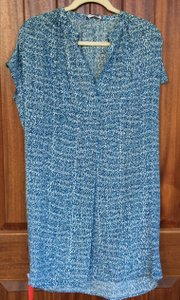 Vince short dress Blue Cobalt And White Silk Size Xs on Tradesy