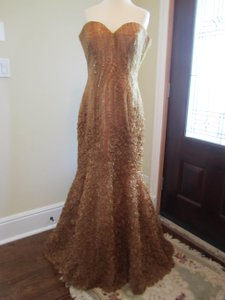 Jovani Gold Gold Embroidered, Patterned, Strapless Trumpet Dress Dress