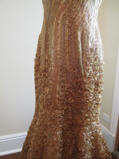 Jovani Gold Satin/Polyester Embroidered Strapless Trumpet Matching Shall Formal Bridesmaid/Mob Dress Size 10 (M)