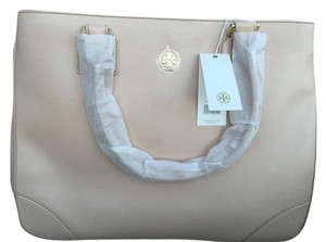 Tory Burch Leather Logo Tote in Dark Sahara