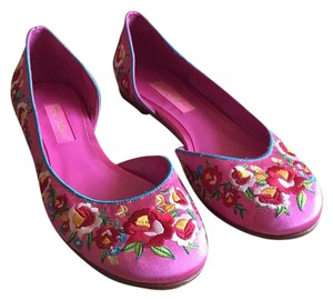 Betsey Johnson Embroidered Satin D'orsay Floral Pink Flats