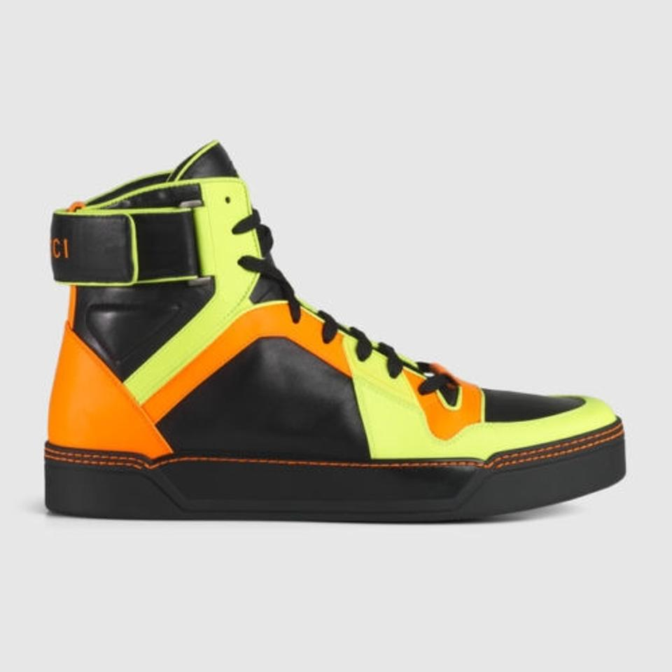 gucci new men 39 s classic neon high top leather sneakers neon multicolor athletic shoes. Black Bedroom Furniture Sets. Home Design Ideas