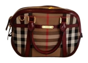 Burberry Orchid House Satchel in Burgandy /House Check