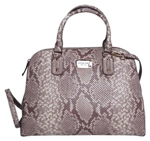 Michael Kors Leather Satchel in Dark Sand