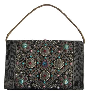 Other Embroidered Beaded Velvet Evening Wristlet in Black
