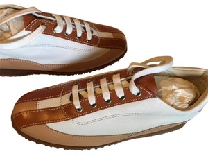 Hogan Leather Laced Sneakers White/Caramel/Coffee Athletic