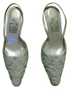 Special Occasions by Saugus Shoe Beaded Sequins Mid Heel White Formal