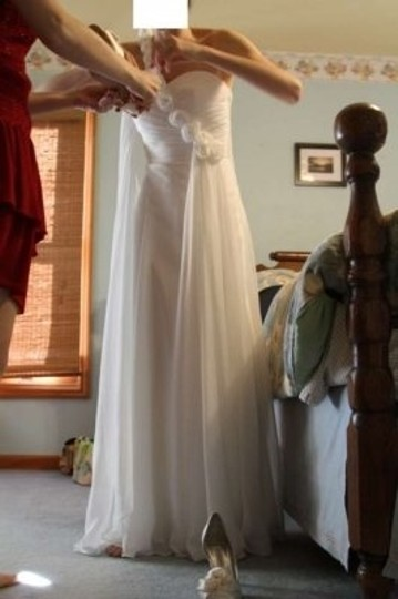 White/Diamond White Chiffon Roman Goddess One Shoulder Asymmetric W/ Flowers Feminine Wedding Dress Size 4 (S)