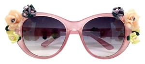 Elle Cross Elle Cross Glossy Blush Pink Oval Flower Temples and Arms Sunglasses