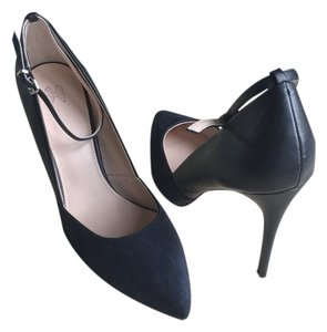 Victoria's Secret Ankle Strap Navy Suede and Leather Pumps