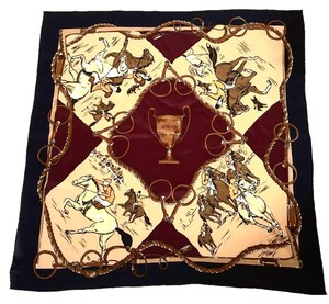 Donna Karan VINTAGE -EQUESTRIAN DESIGN BROWN-BLACK SILK SCARF 35